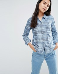 Vero Moda Shila Acid Wash Denim Shirt In Blue Blue