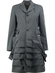 Comme Des Garcons Pinstripe Gathered Effect Coat Women Polyester Wool M Grey