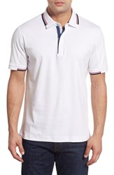 Men's Robert Graham 'Kenric' Mixed Jersey And Pique Polo White