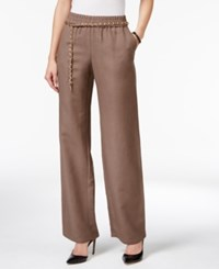 Jm Collection Petite Linen Blend Pull On Pants With Chain Belt Only At Macy's Brown Clay