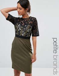 Paper Dolls Petite Pencil Dress With Lace Bodice And Sleeves Khaki Green