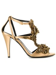 Alberta Ferretti Beaded Strappy Sandals Metallic