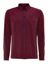 Merc Long Sleeve Gingham Check Shirt Deep Red
