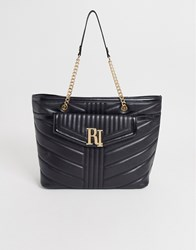 River Island Quilted Tote Bag In Black