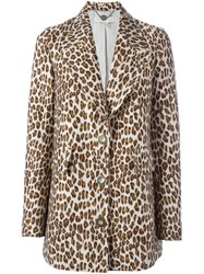 Stella Mccartney Leopard Peaked Lapel Coat Nude And Neutrals