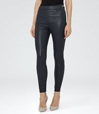 Reiss Vine Womens Leather Trousers In Blue