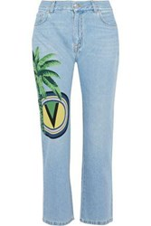 Versus By Versace Printed Mid Rise Straight Leg Jeans Light Denim