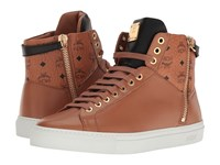 Mcm High Top W Dual Stark Zipper Cognac Men's Shoes Tan