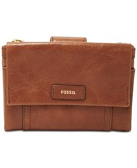Fossil Ellis Multifunction Leather Wallet Brown