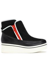 Stella Mccartney Color Block Faux Suede And Leather Wedge Sneakers Black