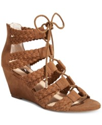 Inc International Concepts Witley Lace Up Wedge Sandals Only At Macy's Women's Shoes Walnut