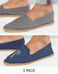 Asos Festival 2 Pack Espadrilles In Navy And Grey With Palm Tree Print Save Multi