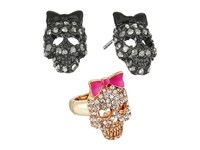 Betsey Johnson Skull Stud Earrings And Stretch Ring Set Crystal Jewelry Sets Gray
