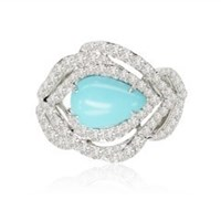 Sutra Turquoise Feather Ring Silver