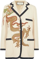 Gucci Appliqued Wool And Silk Blend Blazer Ivory