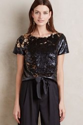 Anthropologie Sequin Fete Tee Gold