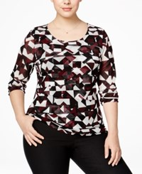 Alfani Plus Size Tiered Printed Mesh Top Only At Macy's Small Diamond Maroon