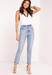 Missguided Retro High Rise Jeans Clean Stonewash Blue Blue