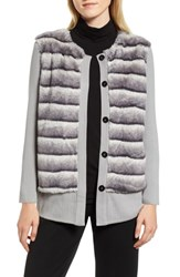 Ming Wang Faux Fur Front Knit Jacket Stone Cliff