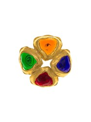 Chanel Vintage Glass Poured Cluster Brooch Metallic