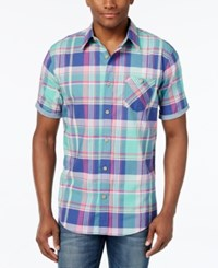 Weatherproof Men's Cotton Plaid Short Sleeve Shirt Navy