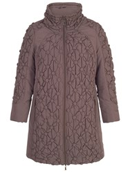 Chesca Button Quilted Coat Chocolate