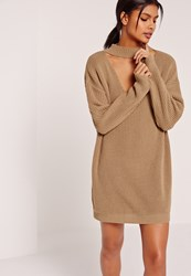 Missguided Choker Neck Slouchy Mini Dress Brown Camel