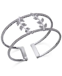 Inc International Concepts Silver Tone Pave Double Leaf Open Cuff Bracelet Only At Macy's