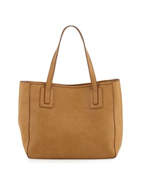 Neiman Marcus Perforated Faux Leather Tote Bag Sand