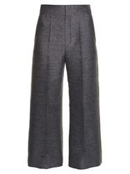 Lanvin Wide Leg Flannel Cropped Trousers Grey