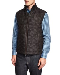 Brioni Quilted Silk Vest Olive Green