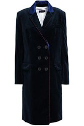 Piazza Sempione Woman Double Breasted Satin Trimmed Cotton Blend Velvet Coat Midnight Blue