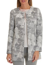 Betty And Co. Tapestry Weave Coat Grey White