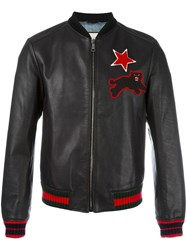 Gucci Embroidered Leather Bomber Jacket Black