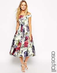 Asos Tall Beautiful Floral Printed Midi Prom Dress
