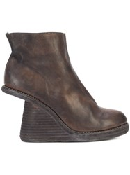 Guidi Cut Away Stacked Wedge Boots Leather Brown