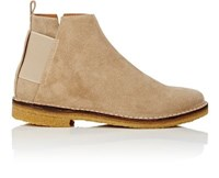 Barneys New York Men's Elastic Detail Suede Jodhpur Boots Beige Tan Beige Tan