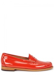 Bass Weejuns Whitney Patent Leather Loafers Orange
