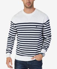 Nautica Men's Classic Fit Breton Striped Sweater Marshmallow
