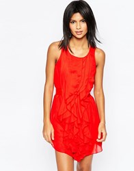 Pussycat London Dress With Ruffle Detail Red