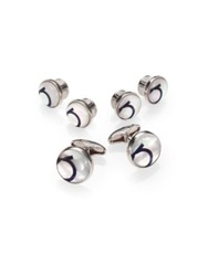 Salvatore Ferragamo Mother Of Pearl Gancini Cuff Link And Shirt Stud Set Silver