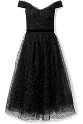 Marchesa Notte Off The Shoulder Ruched Glittered Tulle Gown Black