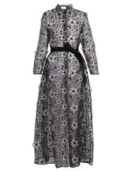 Sara Battaglia Floral Embroidered Organza Coat Black Silver