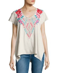 Johnny Was Floral Embroidered Drape Top Sand