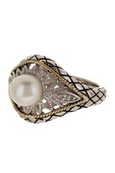 Savvy Cie Las Olas 18K Gold And Sterling Silver Diamond 7Mm Cultured Pearl Filigree Ring 0.04 Ctw Multi