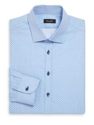Sand Oval Print Dress Shirt Light Blue