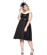 Unique Vintage Plus Size Barbie X Uv After Five Swing Dress Black White
