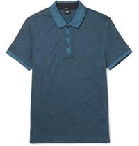 Hugo Boss Phillipson Slim Fit Melange Cotton Pique Polo Shirt Navy
