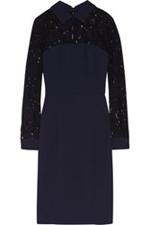 Badgley Mischka Corded Lace And Crepe Dress Navy