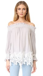 English Factory Off Shoulder Smock Top With Lace Grey White